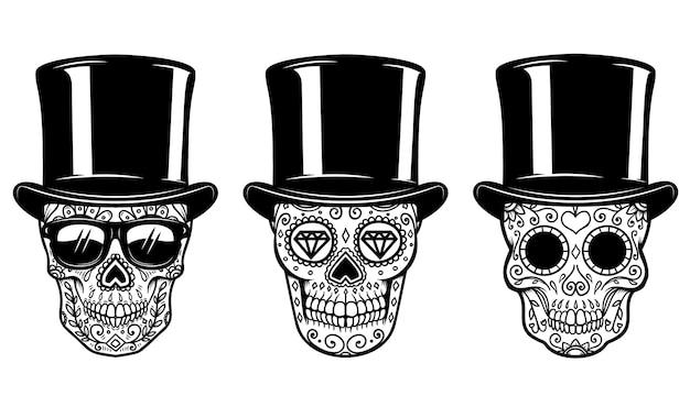 Set di teschio di zucchero messicano in cappello vintage e occhiali da sole.