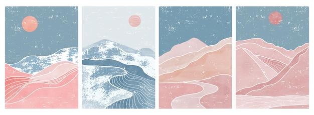 Set di stampa d'arte moderna minimalista della metà del secolo. paesaggi di sfondi estetici contemporanei di montagna astratta.