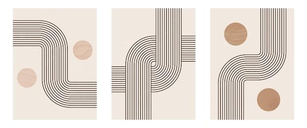 Set di stampa d'arte moderna minimalista di metà secolo con forma naturale organica. fondo estetico contemporaneo astratto con la linea nera minimale geometrica su beige. decorazione da parete boho.