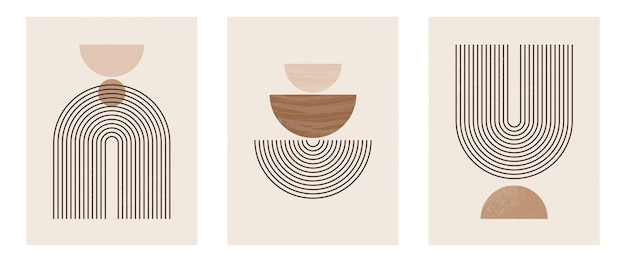 Set di stampa d'arte moderna minimalista di metà secolo con forma naturale organica