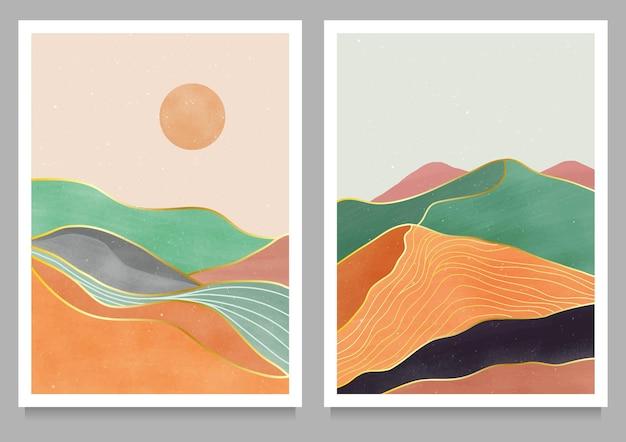 Set di stampa d'arte moderna minimalista della metà del secolo
