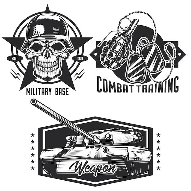 Set di emblemi militari, etichette, distintivi, loghi. isolato su bianco