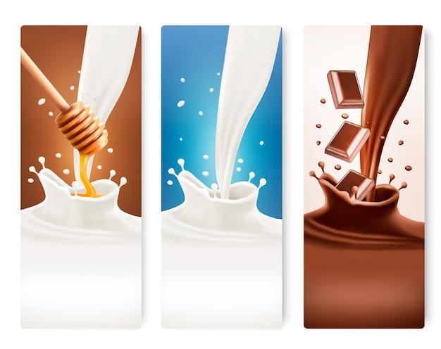 Set di banner di latte, miele e cioccolato.