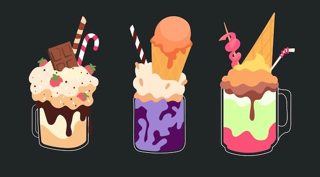 Set di freakshake gonfi di latte con gelato