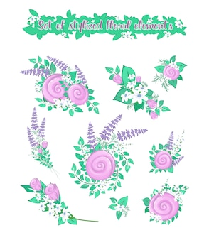 Una serie di mini composizioni da elementi floreali stilizzati per la decorazione. boccioli di rosa e fiori di campo.