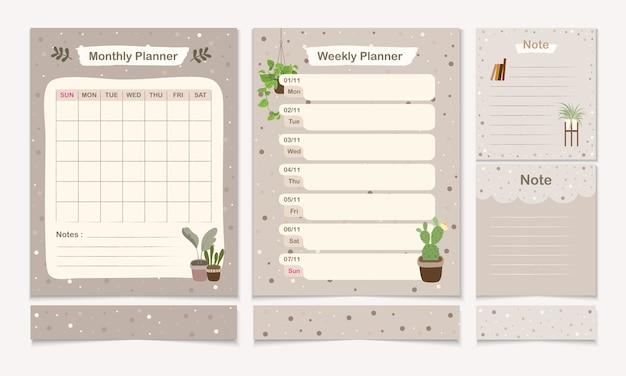 Set di templet pianificatore minimo con modello di pagina mensile, settimanale e nota