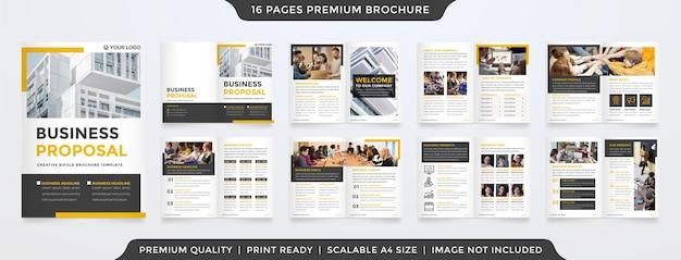 Set di modello di brochure aziendale minimalista con stile semplice e layout pulito