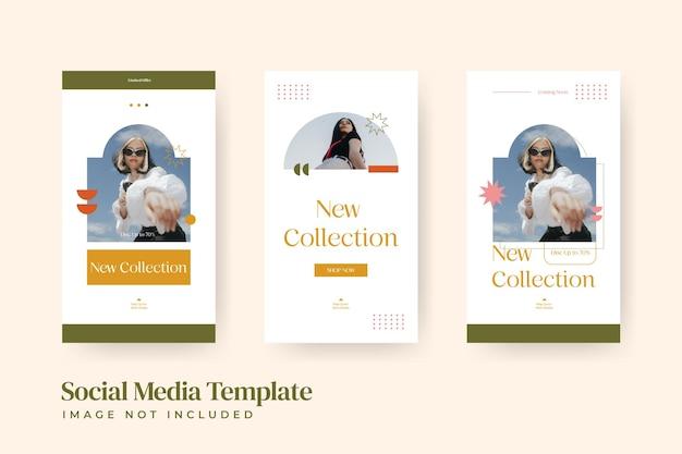 Set di modelli di post di storie di vendita di moda minimalista