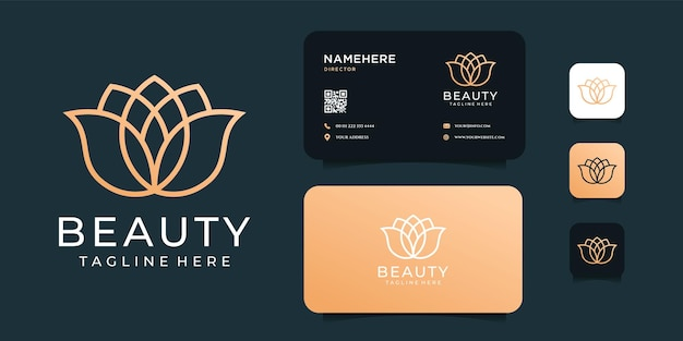 Set di design del logo di bellezza fiore minimalista con biglietto da visita