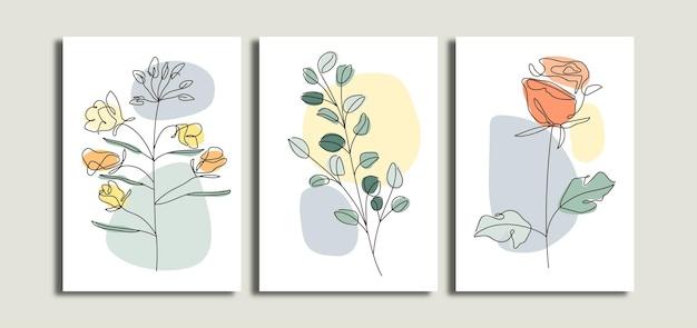 Set di poster di arte della parete di foglie e fiori minimalisti