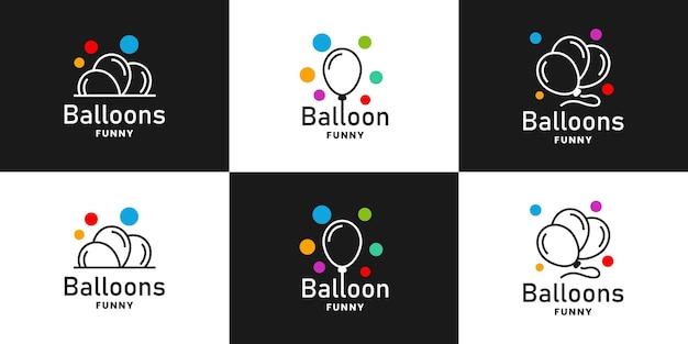 Set di momenti divertenti minimalisti, concetto di design del logo del partito di palloncini