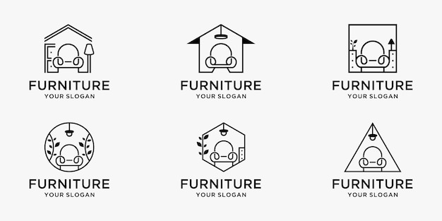 Set di logo di mobili minimalisti Vettore Premium