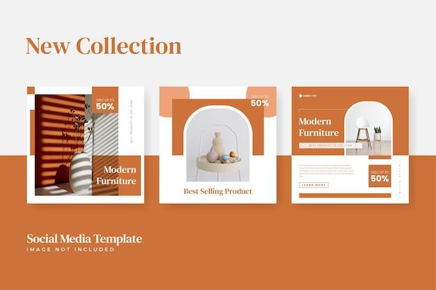 Set di modelli di social media instagram di vendita di mobili minimalisti