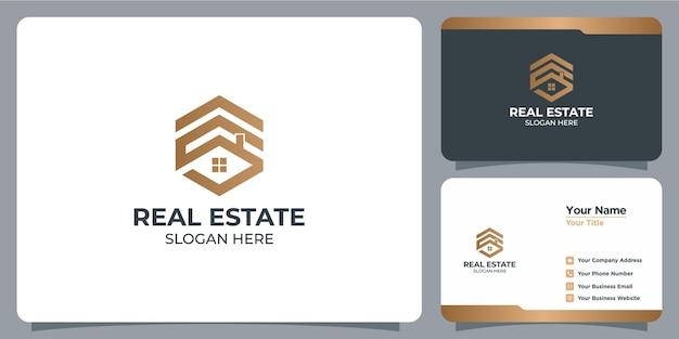 Set di loghi immobiliari minimalisti con lettera s con marchio di biglietti da visita