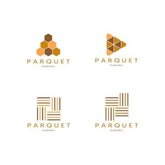 Impostare il design minimalista dell'illustrazione di vettore del logo del legno duro del pavimento in parquet