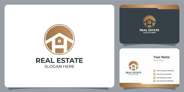 Set di loghi immobiliari minimalisti con marchio di biglietti da visita