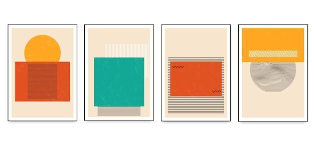 Set di poster di arte geometrica minimalista con elementi di forma geometrica. illustrazione di vettore di modelli astratti alla moda creativi contemporanei moderni.