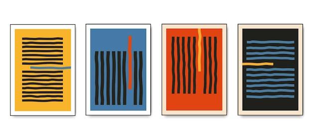 Set di poster geometrici minimalisti con elementi di linea dinamici. illustrazione di vettore di modelli creativi astratti alla moda contemporanea moderna.