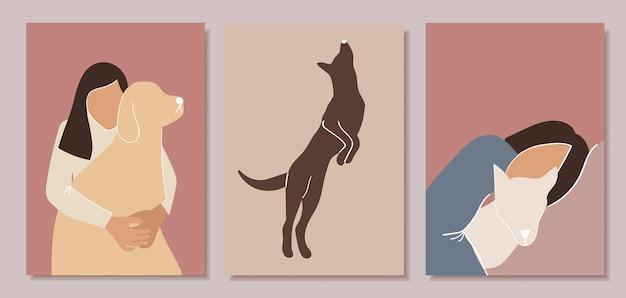 Set di poster minimalisti. donne con cani.