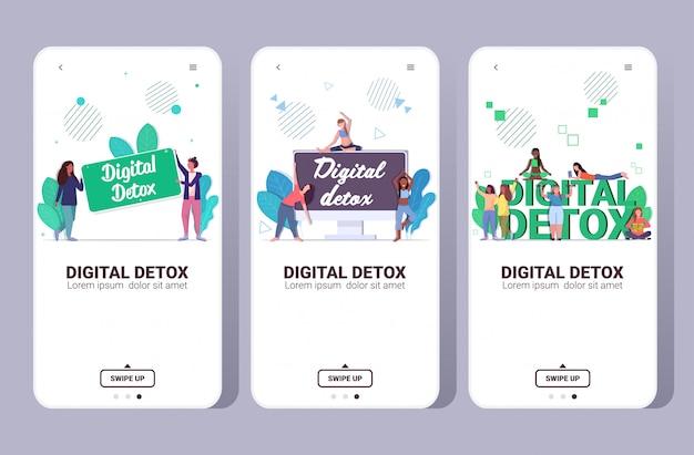 Impostare ragazze da corsa mix trascorrere del tempo senza dispositivi concetto di disintossicazione digitale donne che abbandonano i gadget