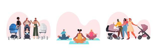 Impostare madri di razza mista che camminano con i neonati in passeggini e facendo esercizi di yoga concetto di maternità
