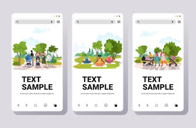 Set mix gara madri che camminano con neonati donne che praticano yoga parco urbano paesaggio sfondo schermi smartphone raccolta copia spazio