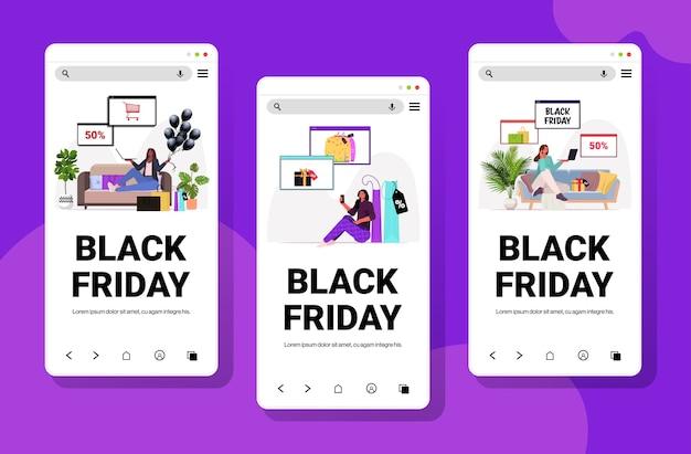 Set mix race donne che scelgono e acquistano beni acquisti online venerdì nero grande vendita sconti vacanze concetto smartphone schermi collezione copia spazio