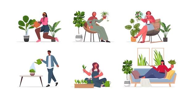 Set mix donne di razza che si prendono cura di piante d'appartamento collezione di casalinghe di razza mista
