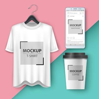Imposta t-shirt mockup, smartphone, tazza, caffè, tè