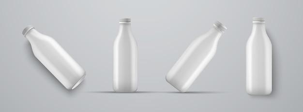 Set di mockup di bottiglie bianche di plastica per kefir, latte, yogurt e altre bevande. modelli per la presentazione del design dell'etichetta.