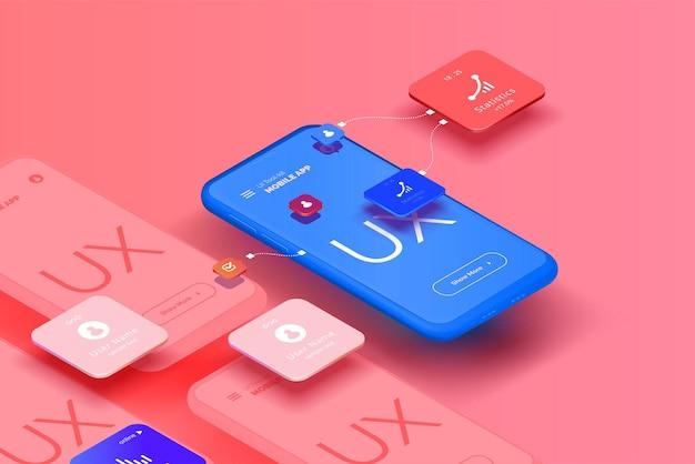 Una serie di prototipi per smartphone con un'interfaccia utente per un'applicazione mobile
