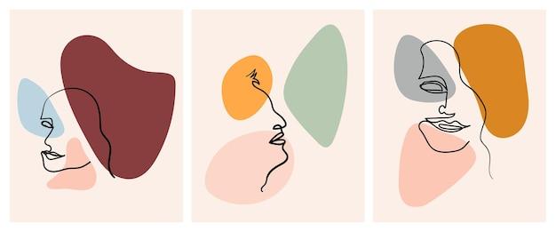 Set di facce astratte moderne in stile contorno disegnato a mano ritratto di donna di una linea alla moda Vettore Premium