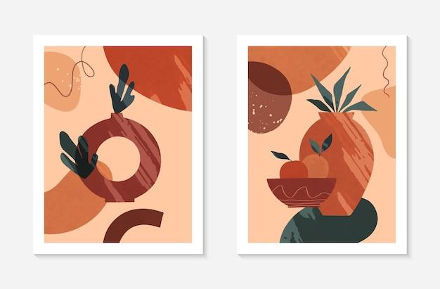 Set di moderne illustrazioni vettoriali astratte con vasi, varie forme organiche e foglie. arredamento di arte della parete dell'acquerello boho. disegni artistici alla moda perfetti per striscioni, social media, copertine, carta da parati.