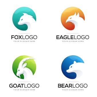 Impostare l'illustrazione vettoriale del design del logo animale moderno