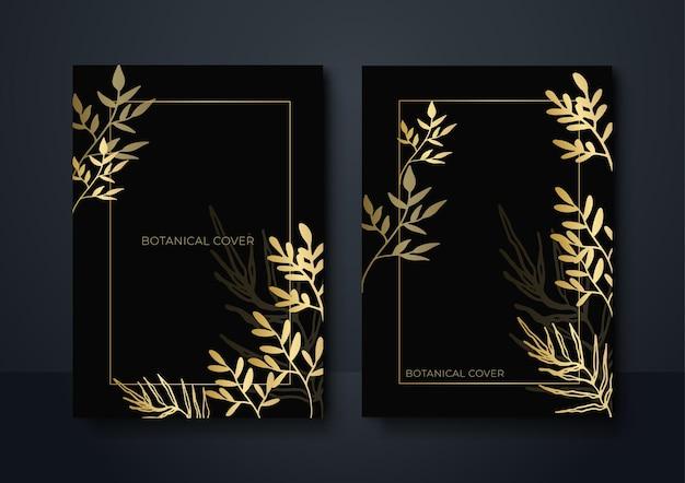 Set di sfondo floreale astratto moderno nero e oro. fondo lussuoso astratto dell'oro nero. moderno modello di banner scuro vettoriale con motivi di forma floreale. design grafico digitale futuristico