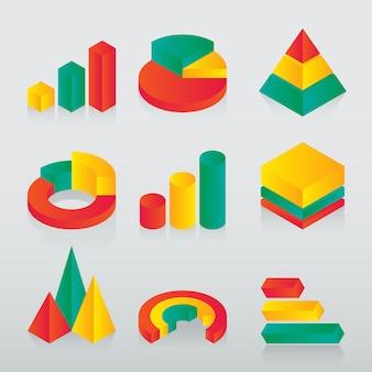 Insieme dell'icona isometrica moderna del diagramma commerciale e del diagramma