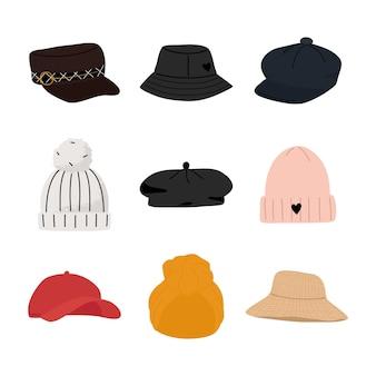 Insieme degli elementi disegnati a mano dell'illustrazione del fumetto dei cappelli femminili moderni, casuali e tradizionali