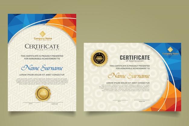 Set di modello di certificato moderno con disegno astratto