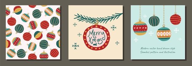 Set di moderni ornamenti natalizi per tessuti, confezioni regalo, biancheria e social media