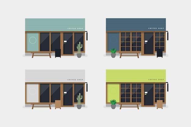 Set di caffetteria moderna o caffetteria vista frontale.