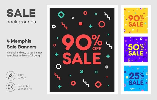 Set di modello di banner colorato moderno in stile memphis. grande vendita. sconto offerta speciale.