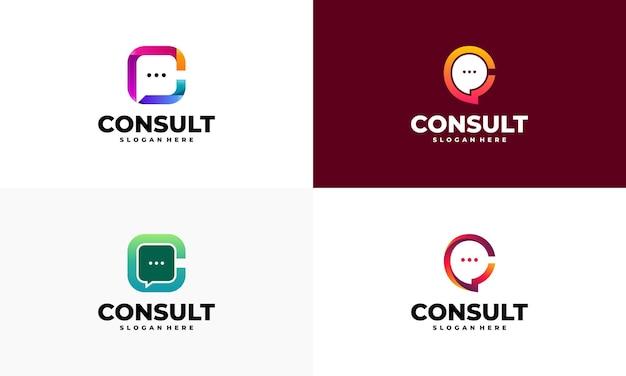Set di disegni del modello di logo di agenzia di consulenza moderna