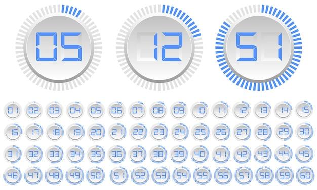 Set di quadranti moderni isolati su bianco