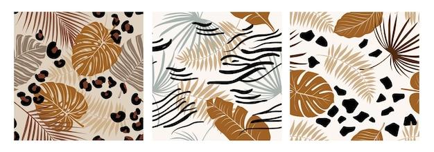 Impostare il modello senza cuciture esotico moderno con pelle di animale nei colori marroni e foglie di palma. arte vettoriale per design, tessuto, carta da parati.