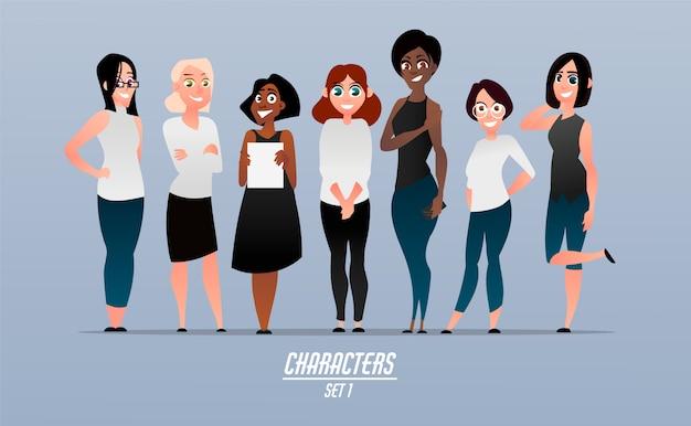 Set di personaggi femminili moderni in stile cartone animato.