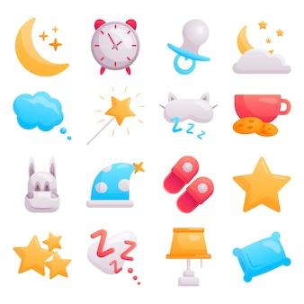 Set di icone moderne del bambino piatto sul tema del tempo di sonno