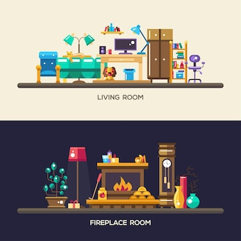 Set di intestazioni di siti web di mobili interni di design piatto moderno stanze di casa