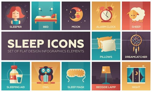 Set di icone moderne di design piatto e pittogrammi di andare a letto e dormire. dormiente, luna, sveglia, pecora, gufo, sognatore, maschera, lampada da comodino, notte, aiuto