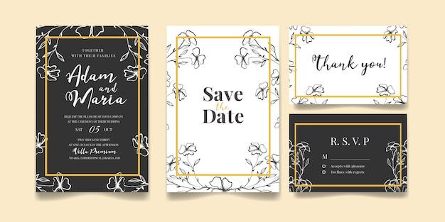 Insieme di modelli di carta o disegno di invito a nozze di lusso disegnati a mano moderno contorno floreale per matrimonio o moda o saluto con texture fiore oro su un bundle di sfondo elegante colore crema Vettore Premium