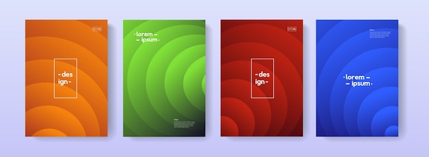 Insieme di disegno di vettore di illustrazioni di copertina geometrica moderna. sfondi con motivo ad arco sfumato per poster, banner, biglietti, flayer, brochure.